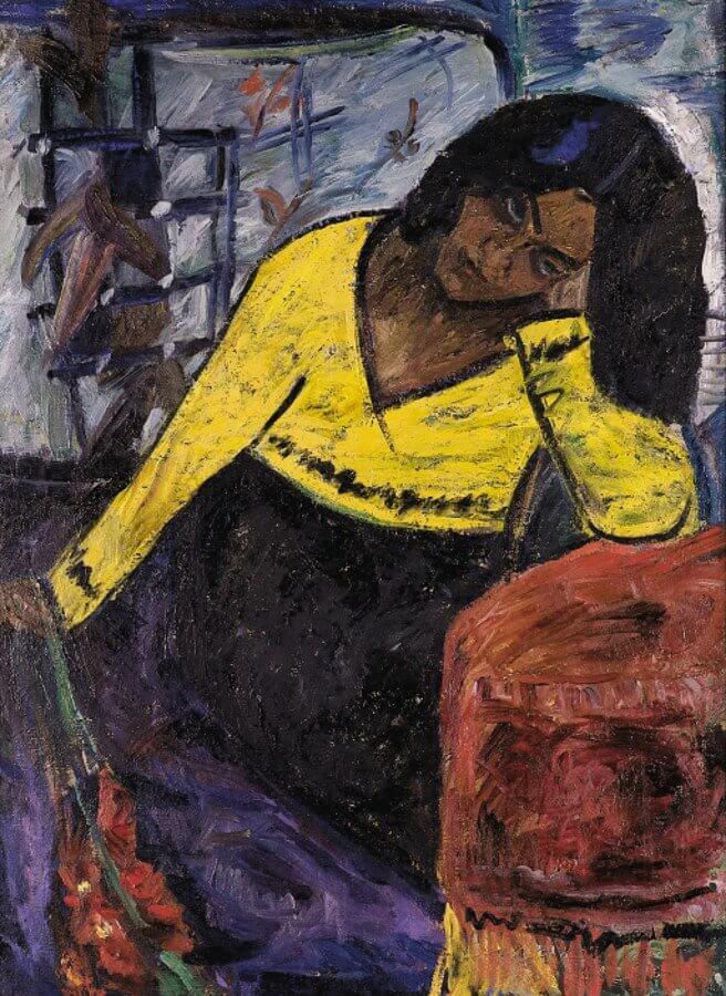 Antanas Samuolis (1899–1942), Kobieta w żółci, 1933 olej, płótno, 100 x 74,5 cm Muzeum Narodowe im. M. K. Čiurlionisa w Kownie, fot. Rimantė Ropytė