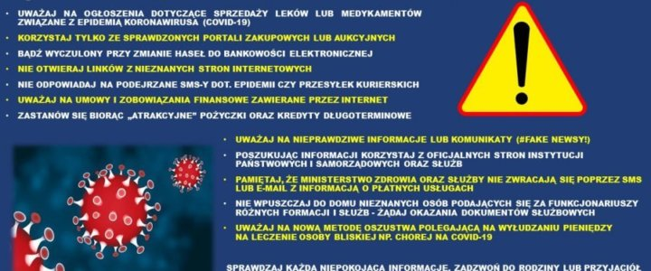 """POLICJA OSTRZEGA I RADZI. NIE DAJ SIĘ OSZUKAĆ NA """"INFORMACJE O KORONAWIRUSIE""""."""