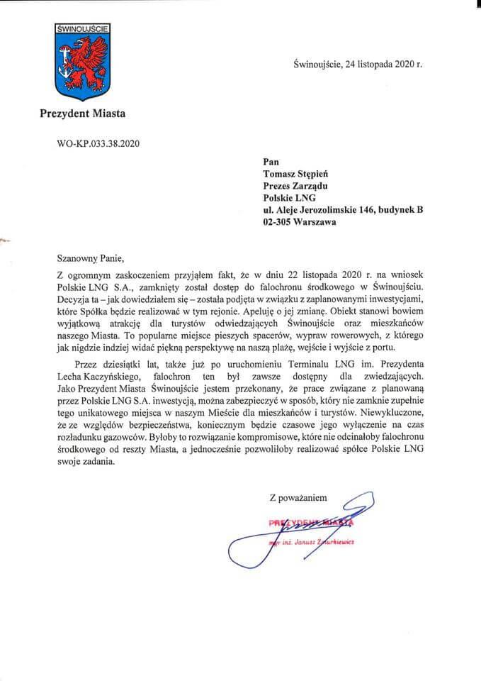 Decyzja o zamknięciu falochronu została podjęta poza Urzędem Miasta Świnoujście.