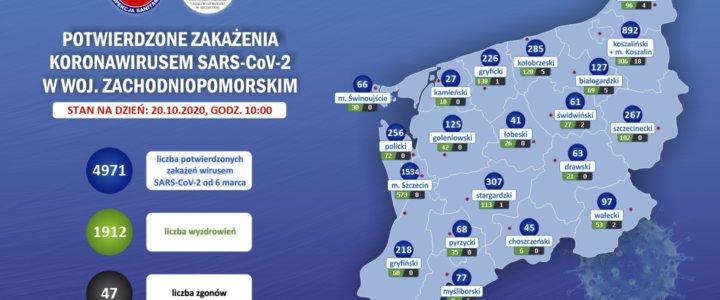 Zachodniopomorskie – mapa zakażeń coronawirusem 20.10.2020 godz. 10.00