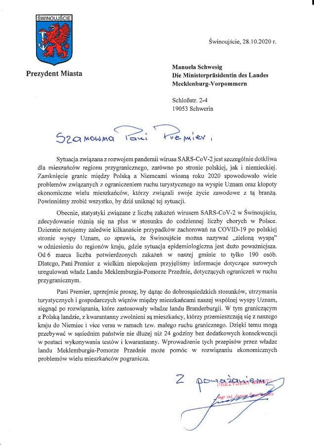 Prezydenta Świnoujścia apeluje do władz landu Meklemburgia-Pomorze Przednie.