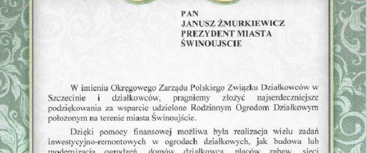 Świnoujście. Podziękowania od Polskiego Związku Działkowców.