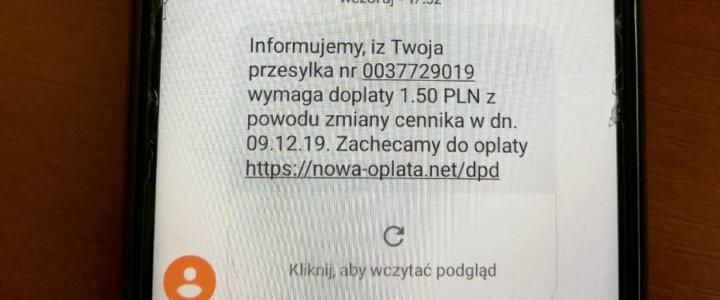POLICJA OSTRZEGA PRZED OSZUSTWAMI INTERNETOWYMI NA SMS Z LINKIEM.