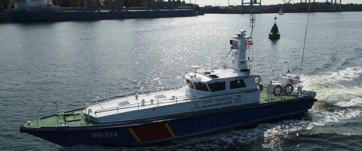 Świnoujście. Funkcjonariusze Morskiego Oddziału Straży Granicznej zabezpieczają neutralizację bomby Tallboy.