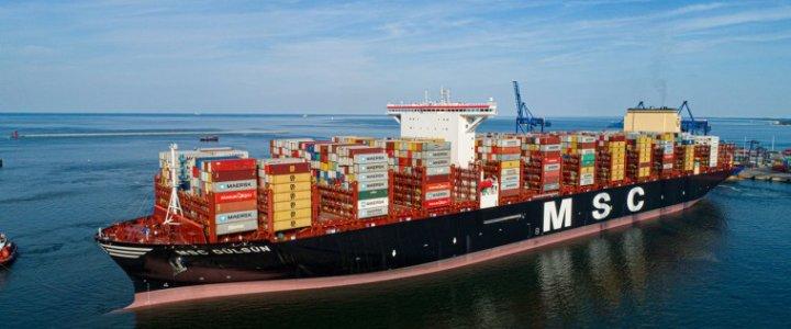 Największy na świecie kontenerowiec MSC Gülsün przypłynął do DCT Gdańsk.