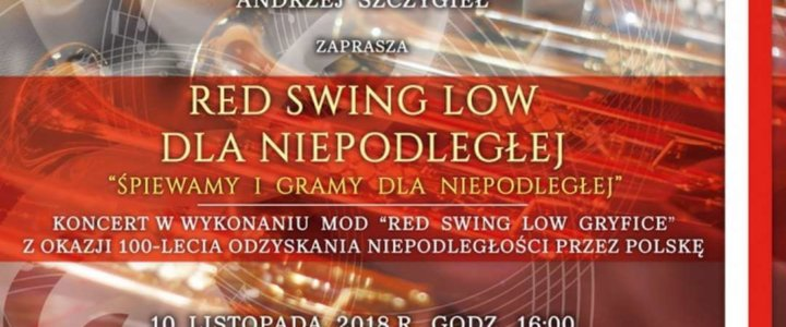 """Gryfice. Zapraszamy na koncert w wyk. MOD """"Red Swing Low'"""
