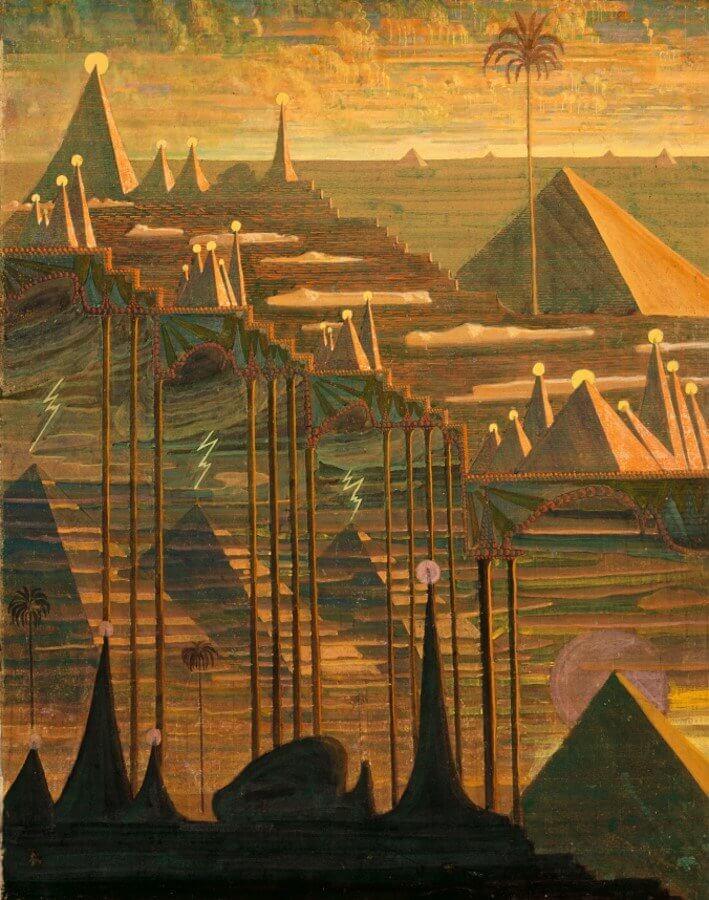 Mikalojus Konstantinas Čiurlionis (1875–1911), Sonata Nr 7 (Sonata piramid). Allegro, 1909 tempera, papier, 76,6 x 59,7 cm Muzeum Narodowe im. M. K. Čiurlionisa w Kownie, fot. Arūnas Baltėnas