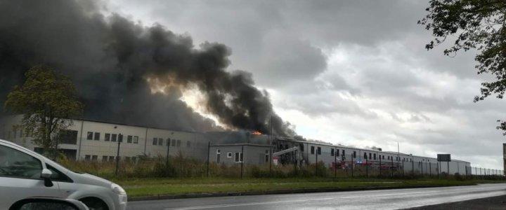Pożar nieużytkowanego zakładu przetwórstwa rybnego w Złocieńcu.