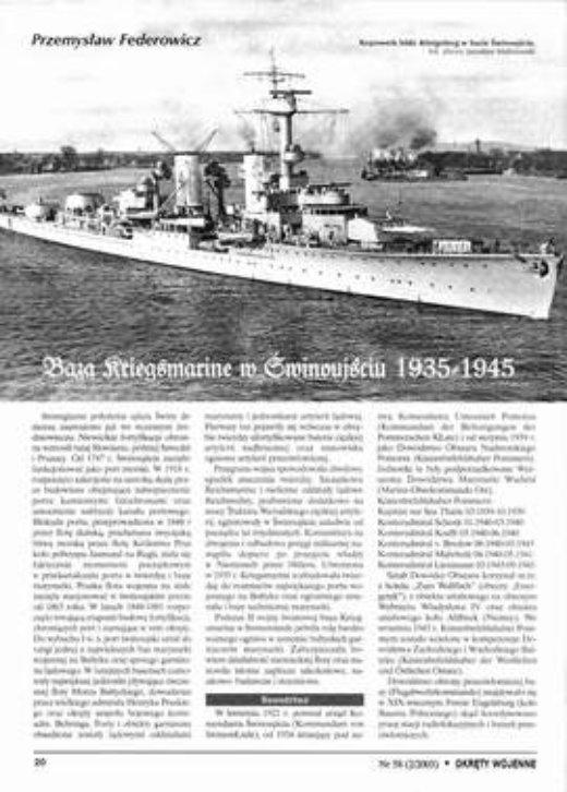 BAZA KRIEGSMARINE W ŚWINOUJŚCIU 1935 - 1945