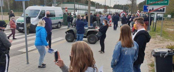 Świnoujście. Protest na granicy polsko-niemieckiej.