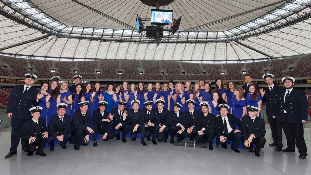 Chór Akademii Morskiej wystąpił na Stadionie Narodowym w Warszawie