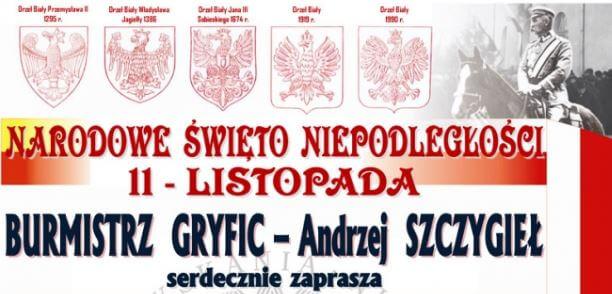 Burmistrz Gryfic serdecznie zaprasza na obchody Narodowego Święta Niepodległości 11 listopada