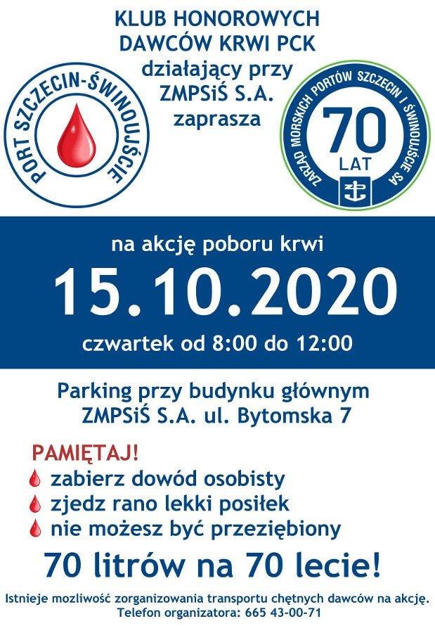 Świnoujście. Już za miesiąc oddaj z nami krew w porcie Szczecin - Świnoujście.