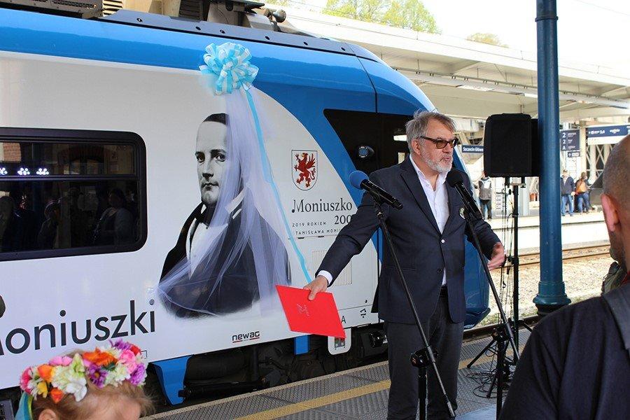 POCIĄG O IM. S. MONIUSZKI - RELACJA Z UROCZYSTOŚCI w Szczecinie na Dworcu Głównym.
