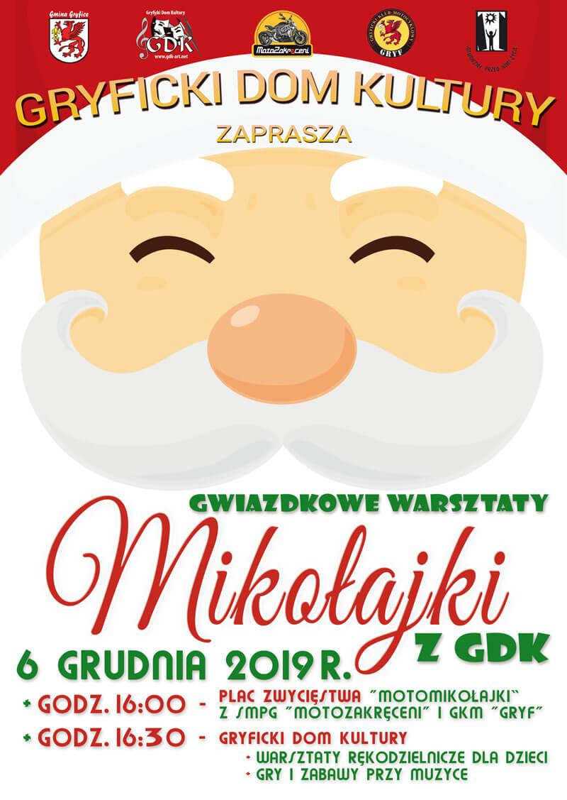Zapraszamy na Mikołajki z Gryfickim Domem Kultury 6 grudnia 2019 r.