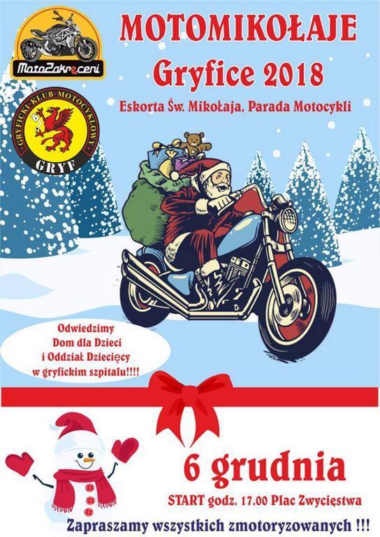 Motomikołaje Gryfice 2018 Eskorta Świętego Mikołaja. Parada Motocykli