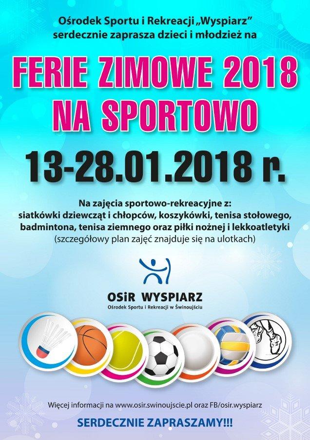 """Ferie Zimowe na Sportowo z Ośrodkiem Sportu i Rekreacji """"Wyspiarz"""" Świnoujście"""