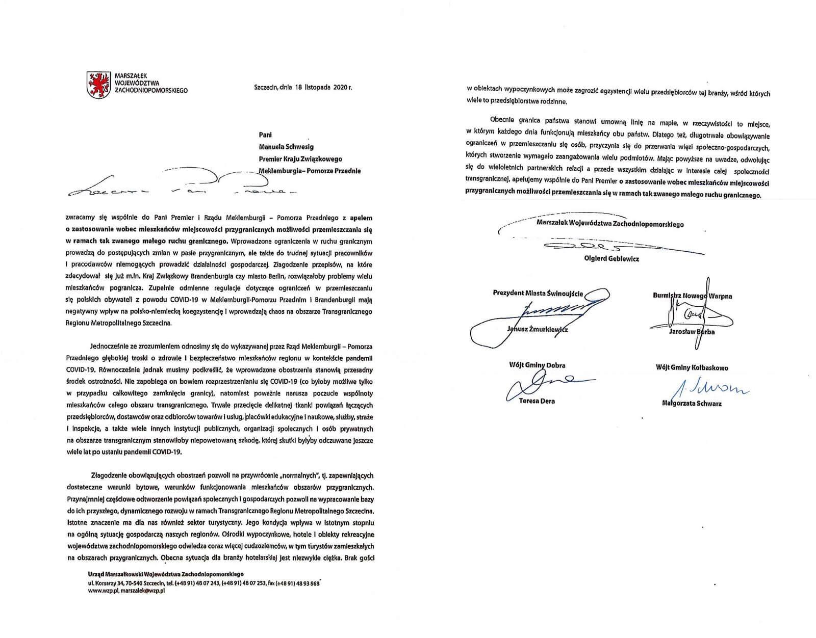 Apel samorządowców i marszałka województwa do władz landu Meklemburgia.