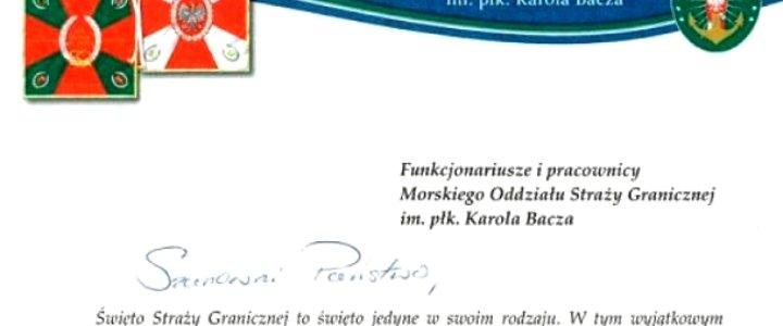 Życzenia Komendanta Morskiego Oddziału Straży Granicznej z okazji Święta Straży Granicznej.
