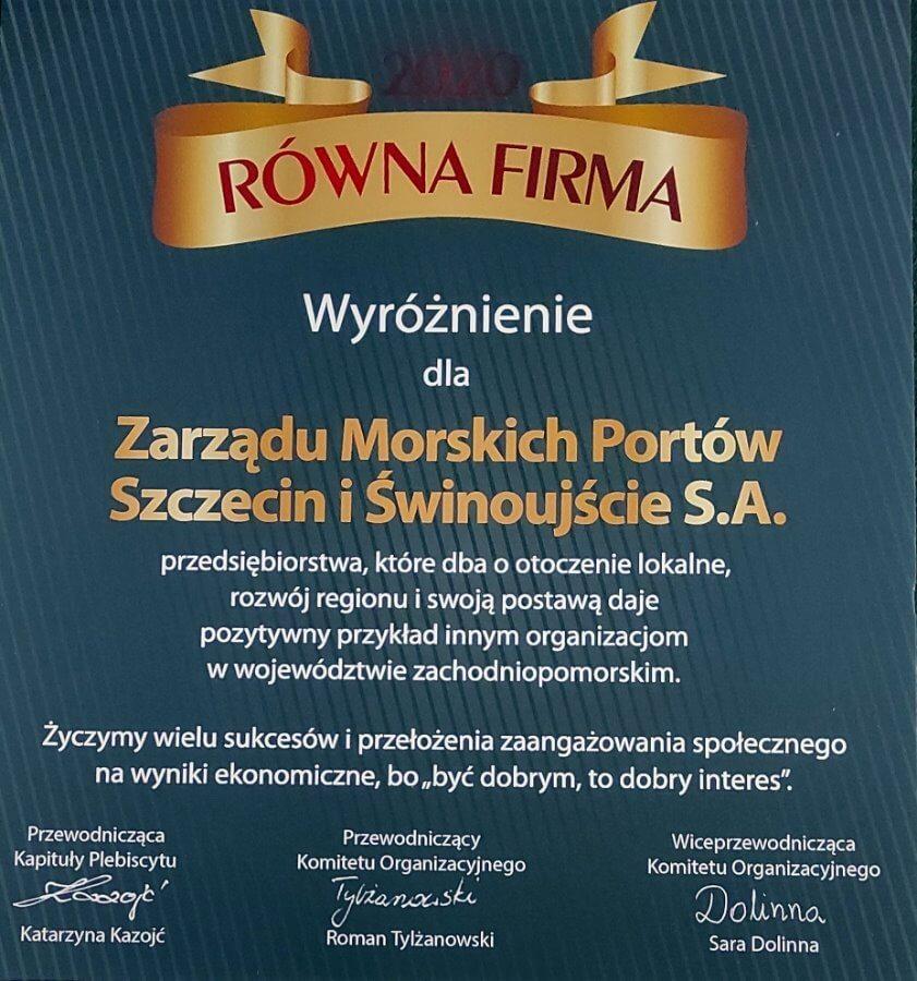 Świnoujście. ZMPSiŚ wyróżniony przez ekonomistów z Uniwersytetu Szczecińskiego.