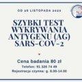 Świnoujście. Szybkie testy na wykrywanie antygenu SARS-CoV-2.