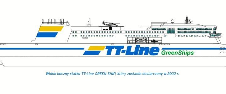 Pierwszy widok boczny statku TT-Line GREEN SHIP