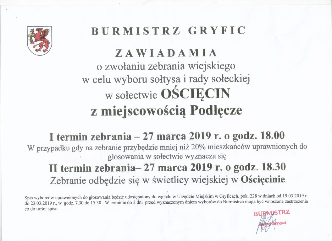 BURMISTRZ GRYFIC ZAWIADAMIA