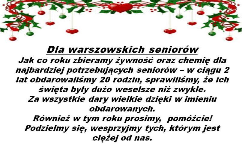 Świnoujście. Wigilijna zbiórka dla seniorów na Osiedlu Warszów