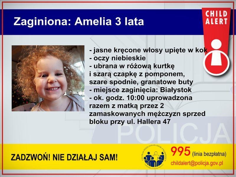 Policjanci poszukują 3-letniej Amelki i jej matki Natalii