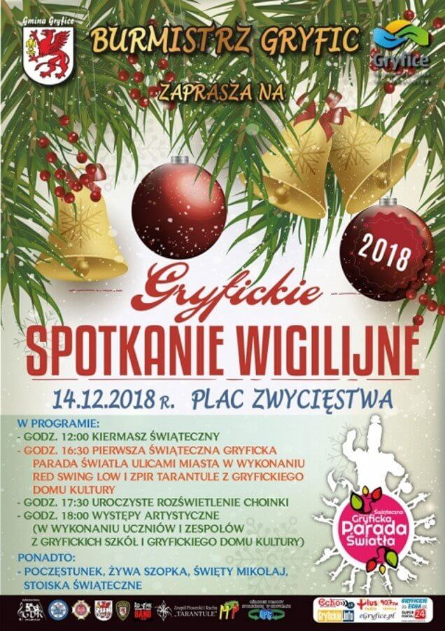 """""""Gryfickie Spotkanie Wigilijne"""" - 14 grudnia - Plac Zwycięstwa - program"""