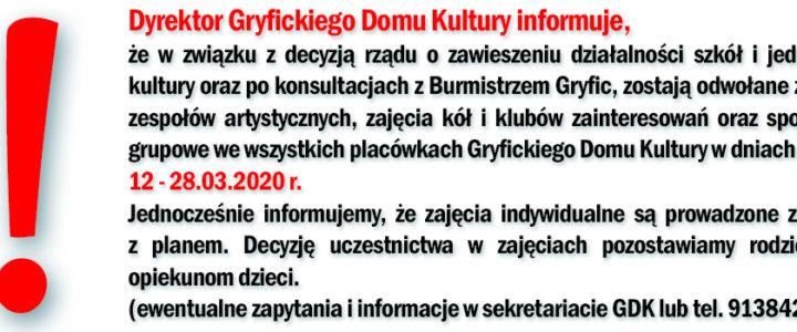 Gryficki Dom Kultury - odwołanie zajęć oraz koncertu.