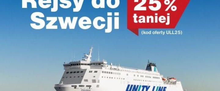 Teraz taniej do Szwecji. 25% rabatu od Unity Line